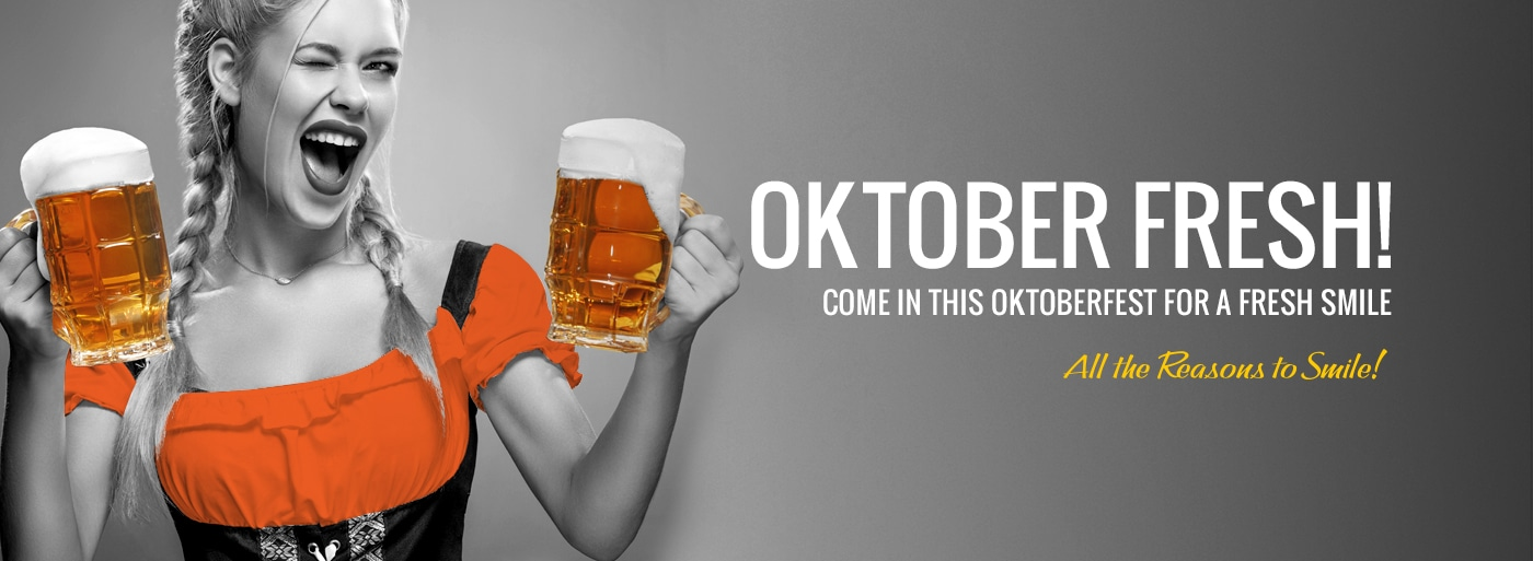 Girl in orange winking with beers and text Oktober Fresh